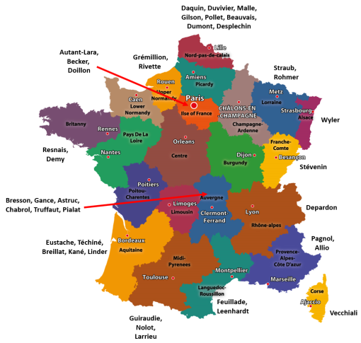 French Regions (old) and filmmakers